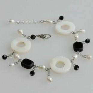 白色貝殼珍珠流蘇多層手飾