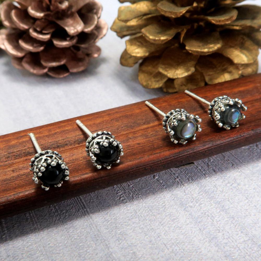 耳環 優雅翠冠-灰與黑  925純銀耳環(2色可選)