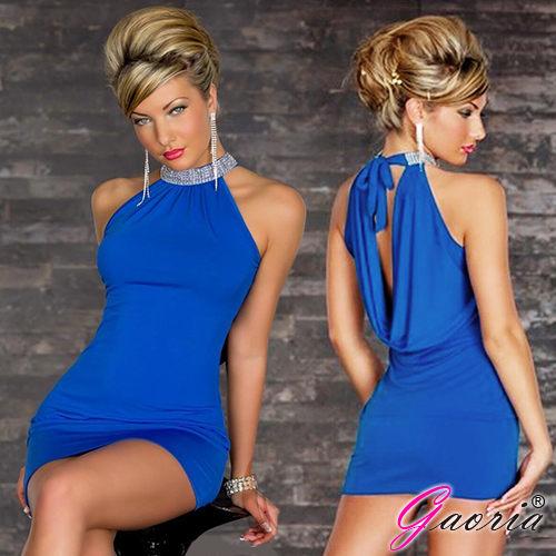 Gaoria俱樂部女郎無袖露背水鑽夜店服裝緊身包臀情趣服裝