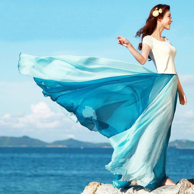 兩穿式沙灘渡假甜美雪纺波希米亞大擺長裙短洋裝玫紅白海藍橘黃三色售