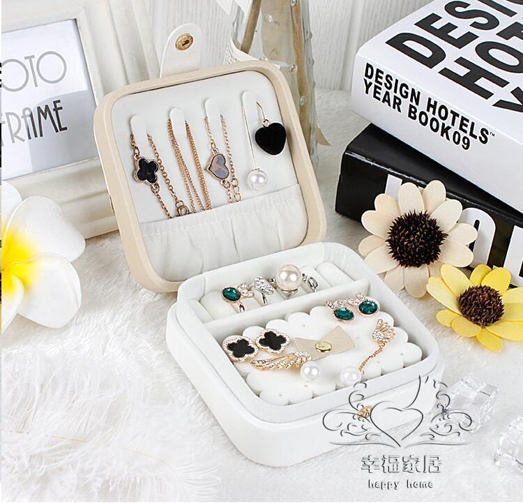 首飾盒便攜首飾盒首飾收納盒飾品盒簡約歐式韓國戒指盒耳環盒手飾全館免運tw