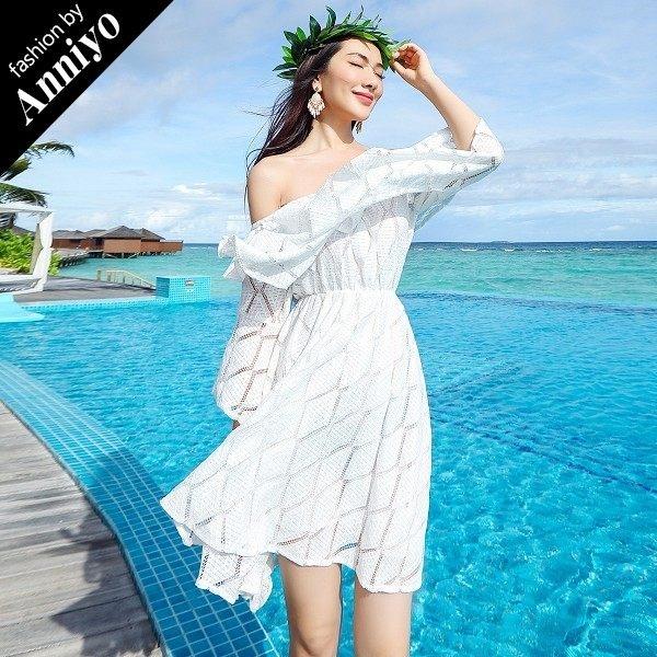 Anniyo安妞一字領七分袖飄逸水袖海邊度假波西米亞鏤空蕾絲沙灘裙連衣裙洋裝白色