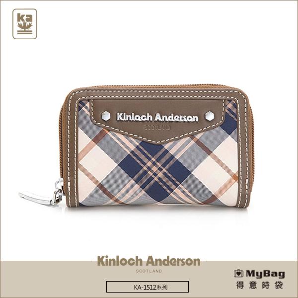 Kinloch Anderson金安德森皮夾零錢包卡夾KA151207咖啡經典格紋布女夾MyBag得意時袋