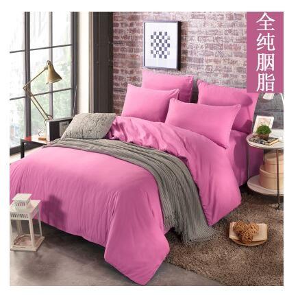 幸福居*床上用品純色磨毛4四件套1.8宿舍被套1.2床單人床笠三件套(床單組四件套1.8M-6英尺)