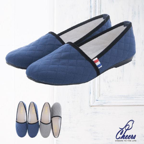 包鞋。Cheers*復古派對典雅玲格紋縫邊造型舒適包鞋-兩色 現貨【W652】