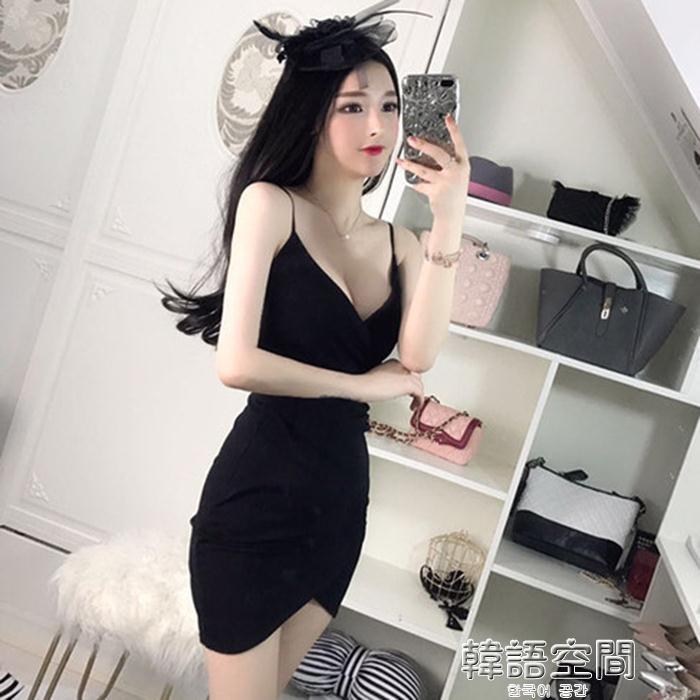 性感夜店女裝v領低胸吊帶裙修身顯瘦棉麻包臀洋裝韓語空間