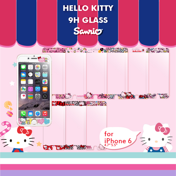 FEEL時尚iPhone 6 6s Plus 5.5 9H正版三麗鷗Sanrio HELLO KITTY 9H浮雕鋼化玻璃螢幕貼手機保護膜