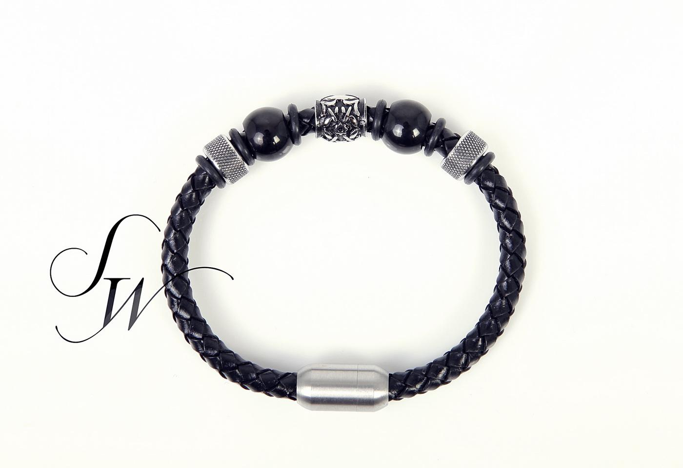 SW正韓韓國製時尚精品~磁石扣頭串珠編織皮革手環黑GD BV K81119