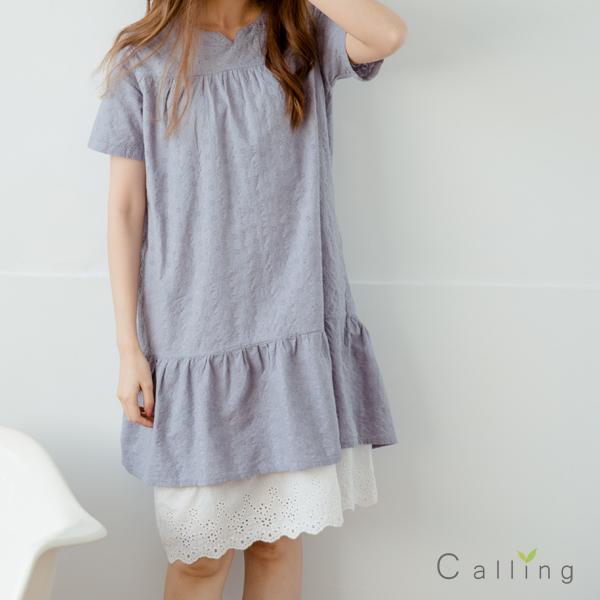 長版衫魚尾拼接布蕾絲棉麻洋裝二色原單-CALLING