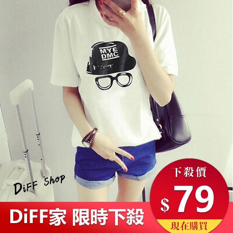 DIFF春夏裝t恤女韓版學生眼鏡印花短袖t恤短袖T93