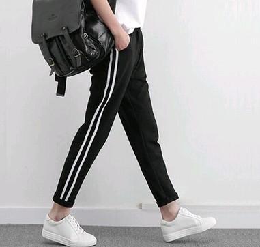 EASON SHOP(GU0565)春夏自留推薦女裝新款鬆緊腰褲子休閒運動褲女直筒九分褲黑白撞色條紋 M-2XL