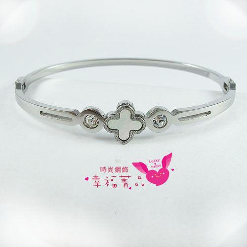 316L白鋼手環彩貝雙鑽鑲崁貝殼顯露特殊珍珠彩虹光澤