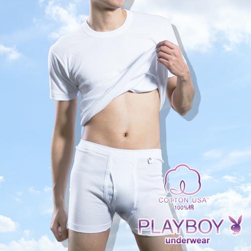 【PLAYBOY】100%純棉 親膚羅紋四角褲-P6625B