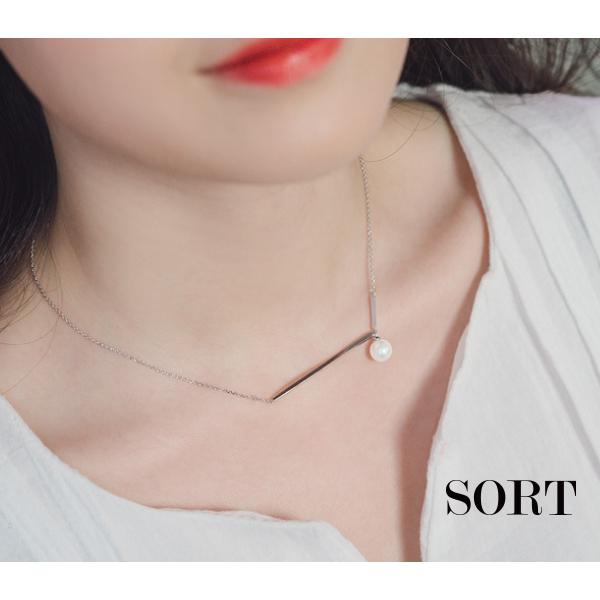 項鍊典雅女神珍珠細長金屬短款鎖骨鍊1DDN0110