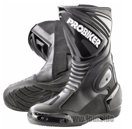 德國Louis PROBIKER長筒摩托車靴高筒重型機車鞋黑色真皮防水