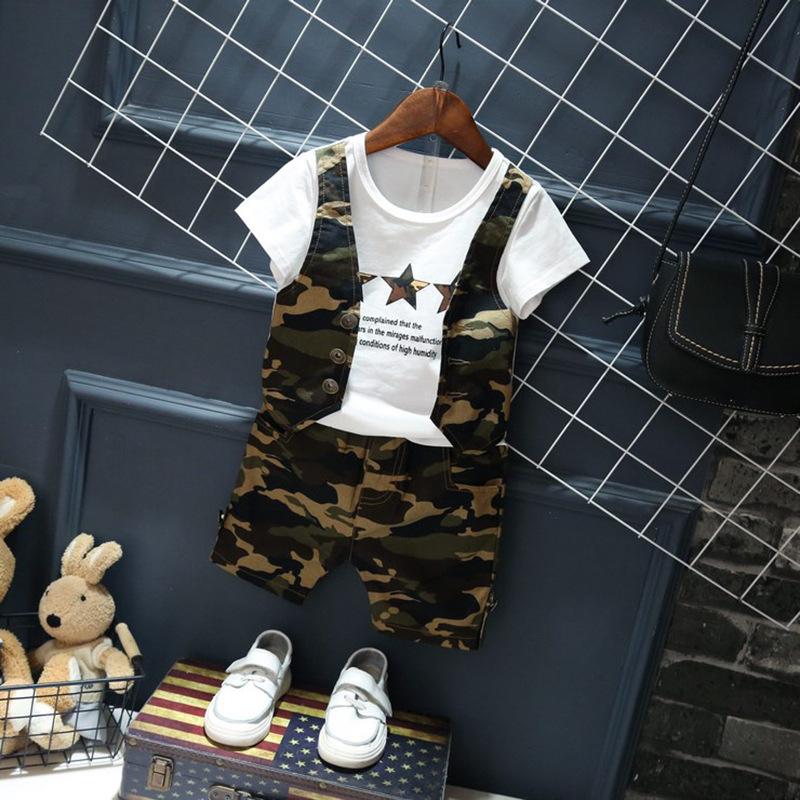 衣童趣♥韓版 兒童兩件式迷彩裝 假兩件帥氣短袖上衣 迷彩短褲 阿兵哥造型套裝【現貨】