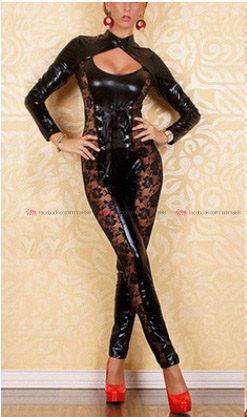 衣美姬歐美性感漆皮連身褲裝鋼管舞熱舞裝火辣性感蕾絲綁帶連身裝