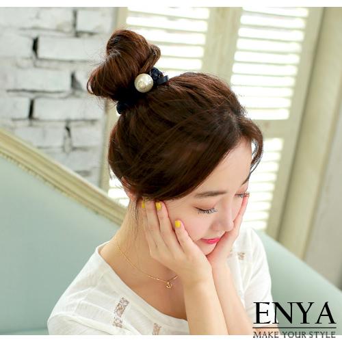 蕾絲綴珍珠彈性髮圈髮束Enya恩雅正韓飾品HASS7