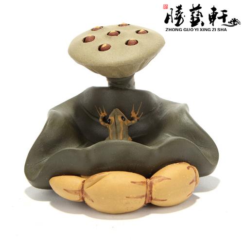 超豐國際茶具宜興紫砂茶寵精品茶托壺托蓋托蓮子青蛙1入