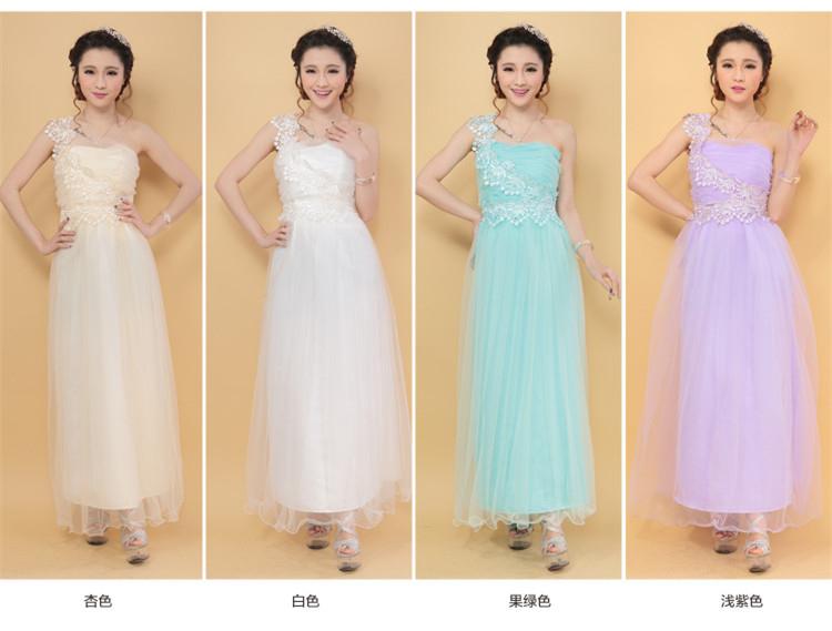 ✿ 3C膜露露 ✿新款韓版單肩蕾絲長款伴娘禮服伴娘團禮服伴娘服訂婚禮服