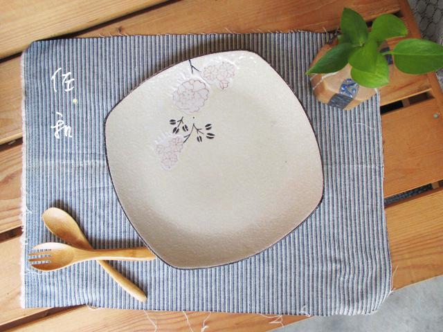 佐和陶瓷餐具~82GA026-8.5 8.5吋四方淺盤白梅開店餐廳擺盤宴會盤