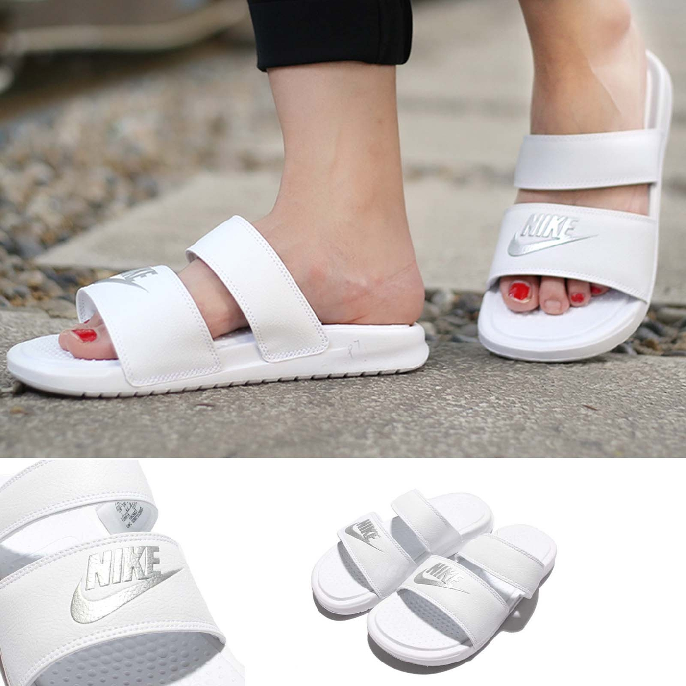 Nike拖鞋Wmns Benassi Duo Ultra Slide白銀雙帶女鞋涼鞋GD PUMP306 819717-100