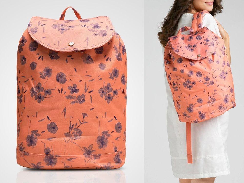 Hsin 77折 現貨 Herschel Reid 中型 粉橘 花紋 Ruby Coral 帆布 束口 女生 後背包