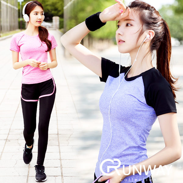 瑜珈休閒長褲套裝撞色運動上衣T恤假兩件式網狀運動長褲吸濕排汗健身跑步休閒服