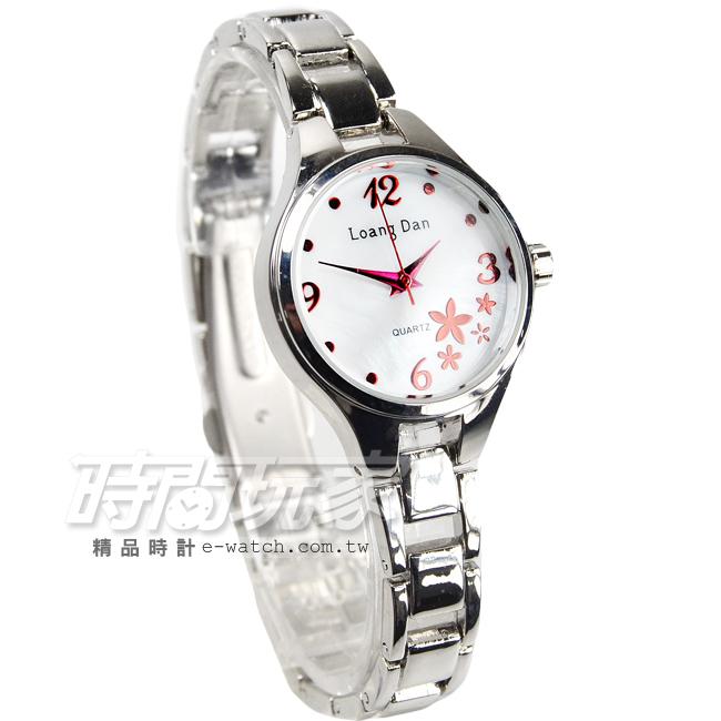 Loang Dan簡約雕花時尚手鍊女錶防水手錶石英錶數字錶珍珠螺貝錶盤紅色電鍍時刻LD-93095-2L白紅