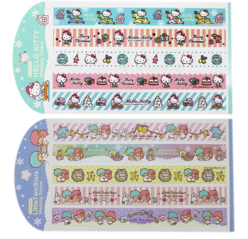 【卡漫城】 Hello Kitty 耶誕 長條 貼紙 雙子星 任選三張 ㊣版 Kikilala 聖誕 禮物 裝飾 /款
