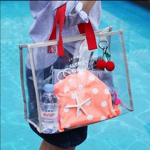 清新夏日透明PVC手提袋 手拎游泳包 時尚旅行沙灘包 乾濕分離包