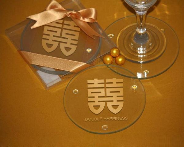 雙喜杯墊-透明 (兩入裝)/組~~ 婚禮小物 送客小禮 婚禮佈置