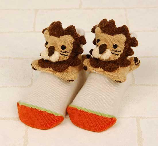 POMPKINS BABY日本3D動物造型襪子兒童襪米白色獅子