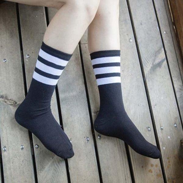 襪子【FSW070】運動風長筒條紋膝下女襪 長襪 中筒襪 條紋襪 純棉 毛巾襪 男女襪 學生襪-SORT