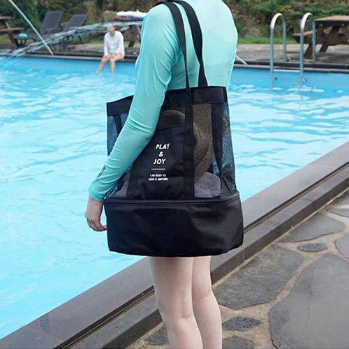 戶外旅行透氣多功能乾濕分離手提側背包 野餐包 沙灘包