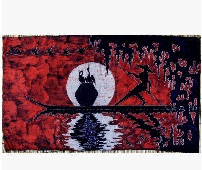 風壁掛畫畫漁翁114cm*68cm紅色