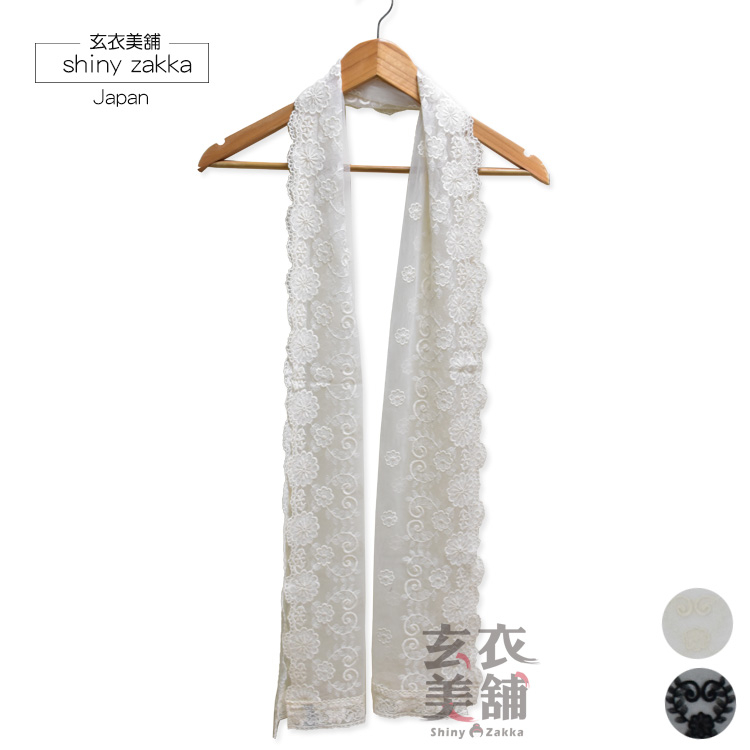透紗花朵長絲巾-韓國製純棉薄款圍巾-2色-玄衣美舖