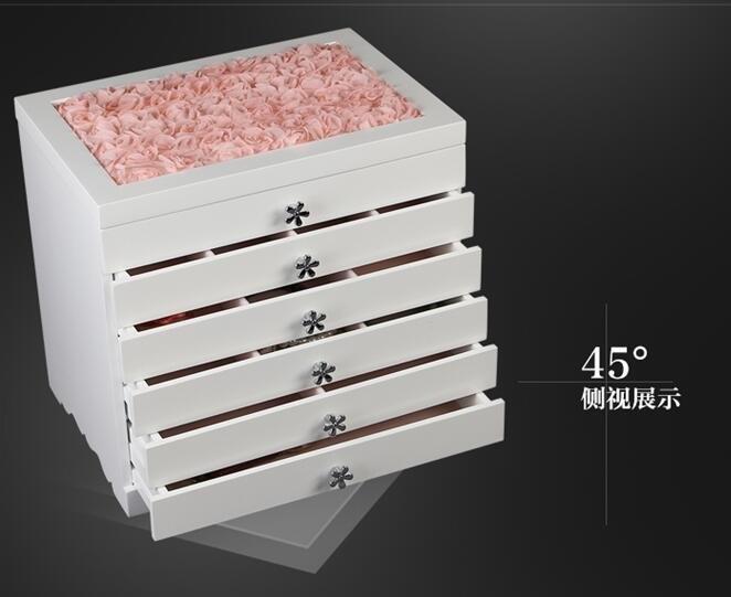 首飾盒木質多層公主飾品盒收納盒韓國大容量手錶項鍊耳環收納櫃【S05-白色蕾絲款】
