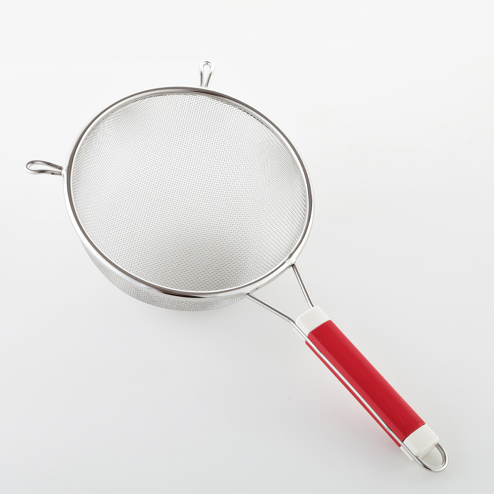 PUSH! 餐具廚房用品不銹鋼雙耳撈勺漏勺過濾網勺密網油撈勺(小號)D56