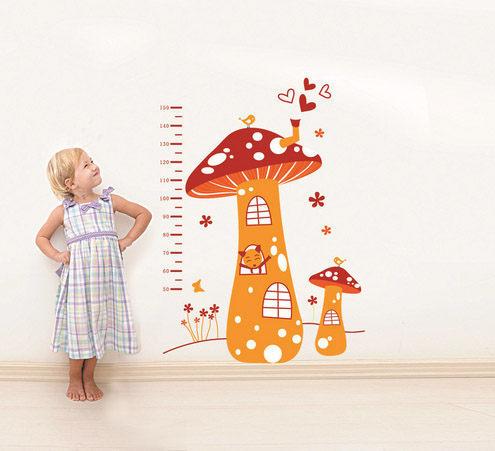 高品質DIY可移動牆貼身高尺壁貼兒童壁貼兒童房設計蘑菇屋Life Beauty