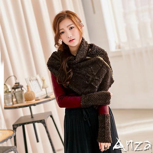 【AnZa】兩件式大翻領絨毛披肩 絨毛拼接袖上衣