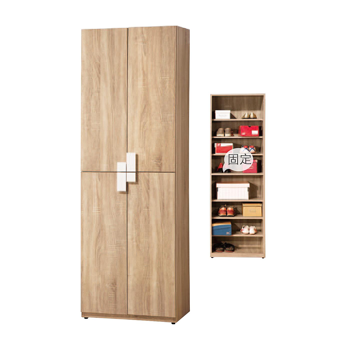 【森可家居】多莉絲2尺四門收納櫃 (單只-編號4) 6ZX767-5 客廳 鞋櫃 廚房餐櫃 木紋質感 北歐 無印風