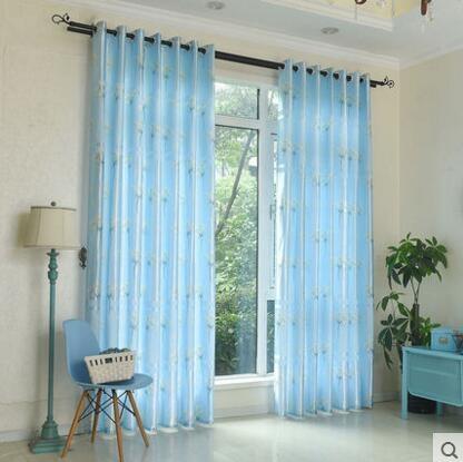 食尚玩家  田園窗簾飄窗半遮光布透光窗簾 支持定制  寬300cm高270cm掛鉤款