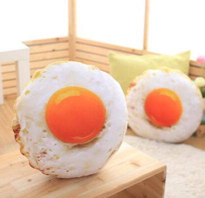 【葉子小舖】3D荷包蛋造型抱枕/靠墊/雞蛋枕頭/煎蛋公仔/療癒娃娃/生日交換禮物/情人節