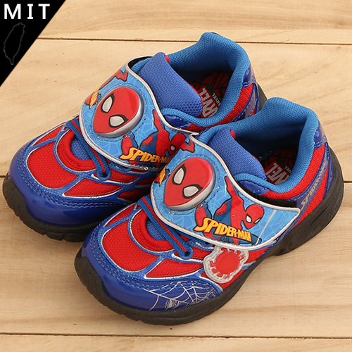 男童 漫威英雄 蜘蛛人 魔鬼氈 藍紅配色 造型閃燈 休閒鞋 運動鞋 電燈鞋 MIT製造 正版售權 59鞋