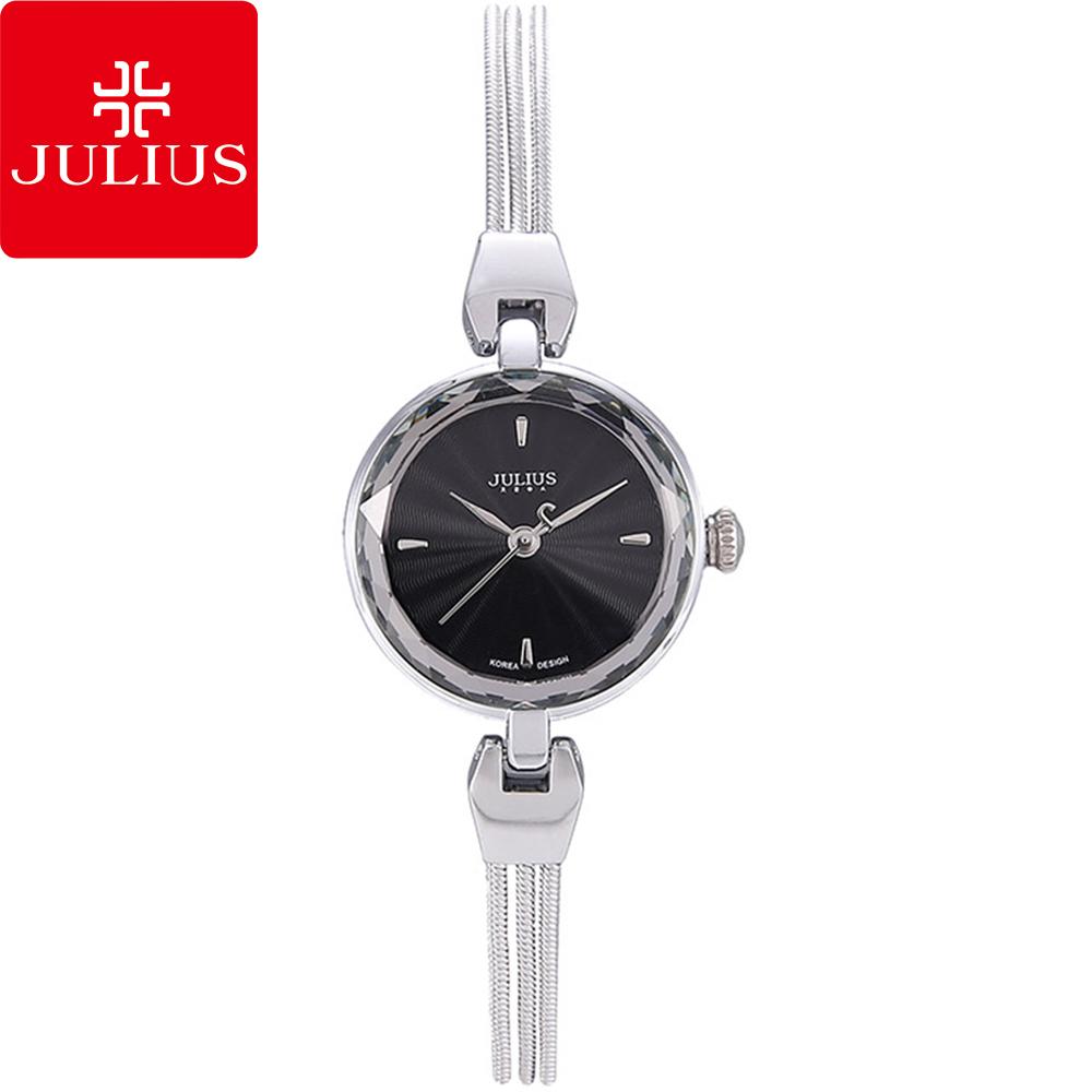 JULIUS聚利時艾莉兒的海螺貝殼面鍊飾腕錶-黑銀25mm JA-717B