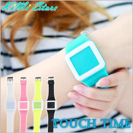 正韓街頭潮流 LED果凍觸控錶 超薄方形電子手錶 / LED錶 / 男錶 / 對錶 / 女錶【KIMI store】