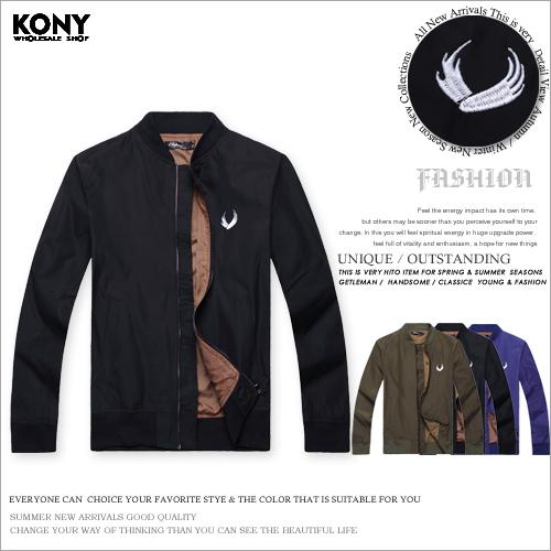 KONY SS9685韓版簡約騎士風潮流電繡圖案外套現預
