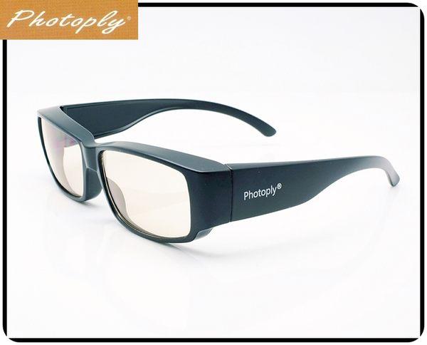 我愛買台灣PHOTOPLY黑色防藍光眼鏡吸40藍光100紫外線UV眼鏡適電視智慧手機手機遊戲