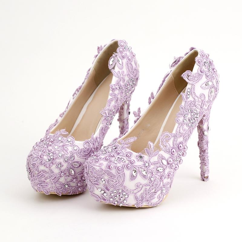 淡紫色新娘鞋超高跟防水台拍婚紗照鞋蕾絲花朵水鑽婚鞋單鞋女鞋春   :6661212009